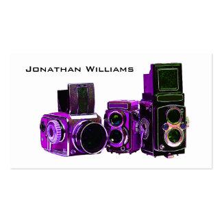 Tarjetas de visita púrpuras de la fotografía de la
