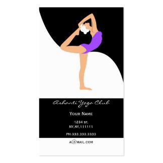 tarjetas de visita púrpuras de la yoga