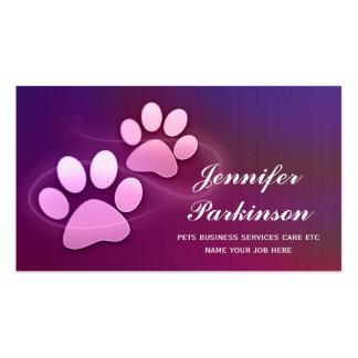 tarjetas de visita púrpuras de las patas del