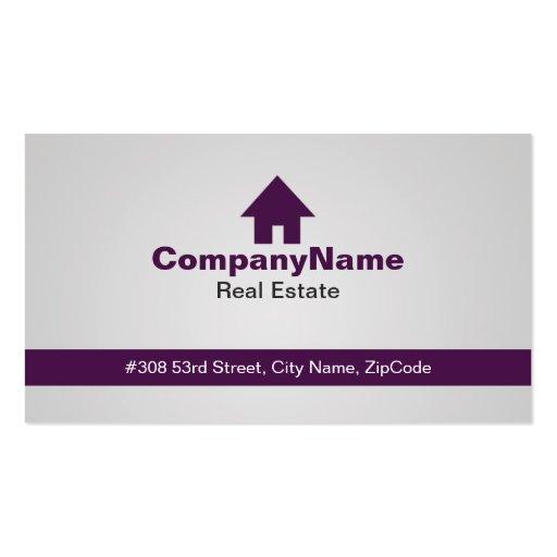 Tarjetas de visita púrpuras de las propiedades inm