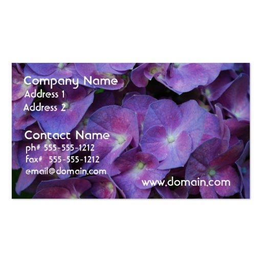 Tarjetas de visita púrpuras del Hydrangea
