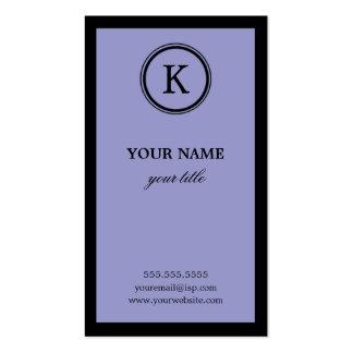 Tarjetas de visita púrpuras y negras elegantes del