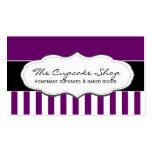 Tarjetas de visita rayadas púrpuras y blancas retr