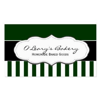 Tarjetas de visita rayadas verdes y blancas