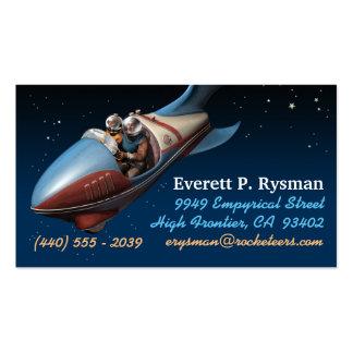 Tarjetas de visita retras de Rocket de espacio