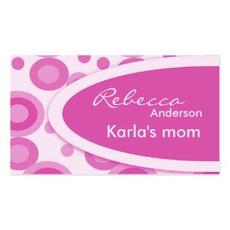 Tarjetas de visita retras rosadas de la mamá de lo