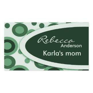Tarjetas de visita retras verdes de la mamá de los