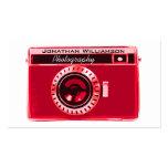 Tarjetas de visita rojas de la fotografía de la cá