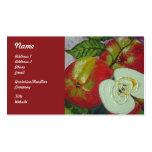 Tarjetas de visita rojas de la fruta de las manzan