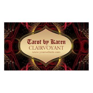 Tarjetas de visita rojas de Tarot del templo de la
