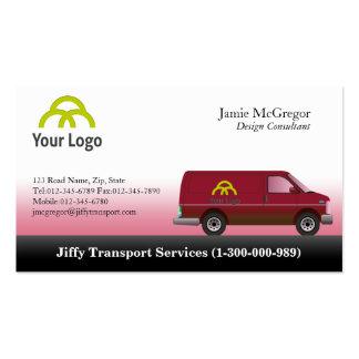 Tarjetas de visita rojas de Van del transporte