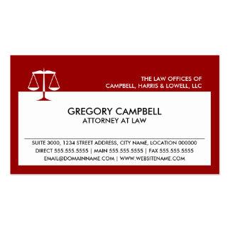 Tarjetas de visita rojas del abogado