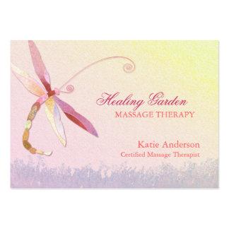 Tarjetas de visita rojas del terapeuta del masaje