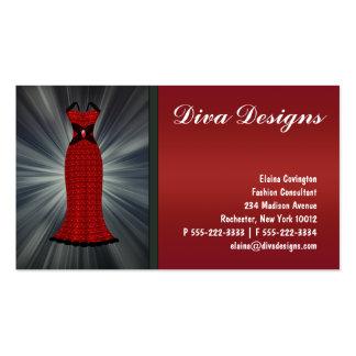 Tarjetas de visita rojas del vestido