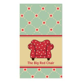 Tarjetas de visita rojas grandes de la silla