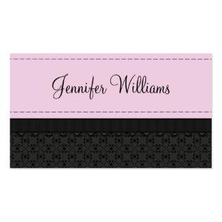 Tarjetas de visita rosadas bonitas de la cinta de