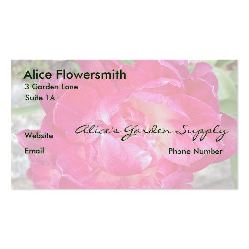 Tarjetas de visita rosadas brillantes del tulipán