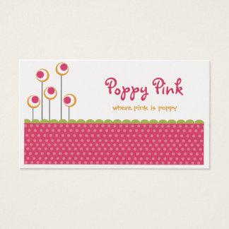 Tarjetas de visita rosadas de la amapola