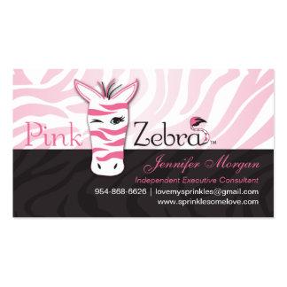 Tarjetas de visita rosadas de la cebra
