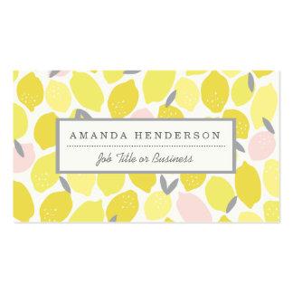 Tarjetas de visita rosadas de la limonada