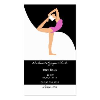 tarjetas de visita rosadas de la yoga