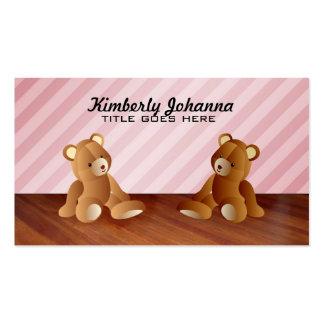 Tarjetas de visita rosadas de los osos de peluche