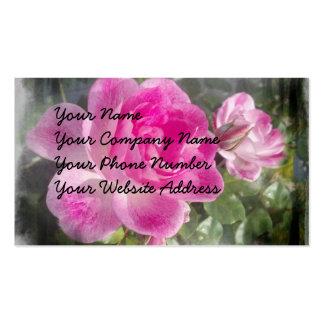 Tarjetas de visita rosadas de los pétalos color de