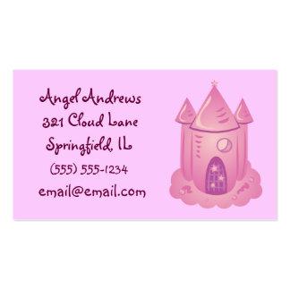 Tarjetas de visita rosadas del castillo del cuento