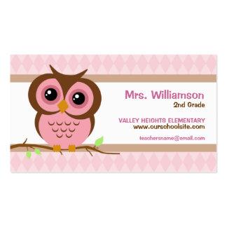 Tarjetas de visita rosadas del profesor de Owly