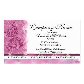 Tarjetas de visita rosadas elegantes del bordado
