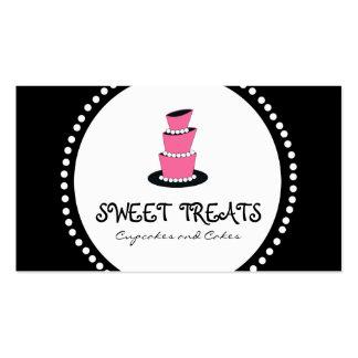 Tarjetas de visita rosadas negras de la panadería