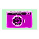 Tarjetas de visita rosadas retras de la fotografía