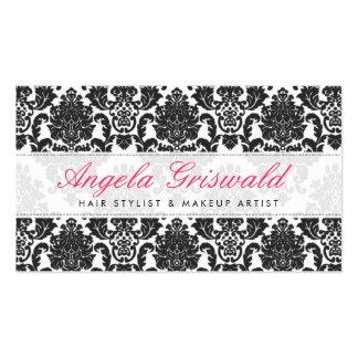 Tarjetas de visita rosadas y negras elegantes del