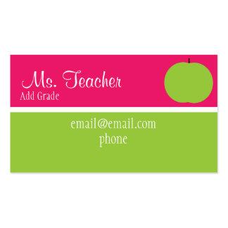 Tarjetas de visita rosadas y verdes del profesor d