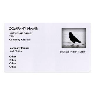 Tarjetas de visita, silueta del cuervo, lema de la tarjetas de visita
