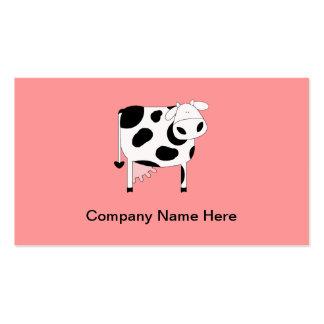 Tarjetas de visita simples de la vaca