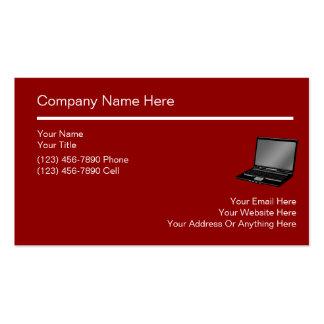Tarjetas de visita simples de ordenadores