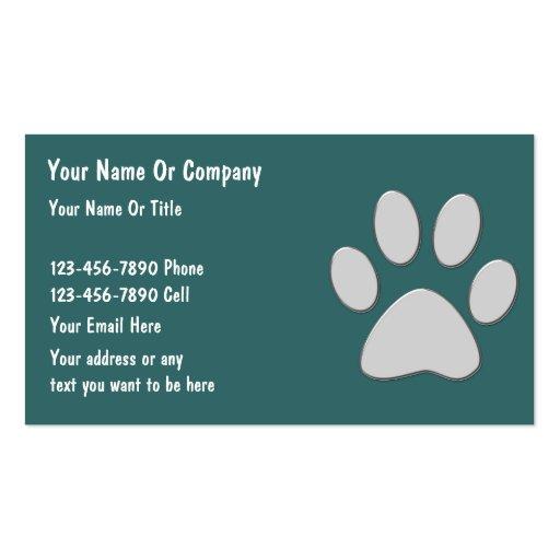 Tarjetas de visita simples del cuidado de animales