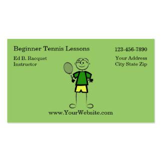 Tarjetas de visita simples del instructor del teni