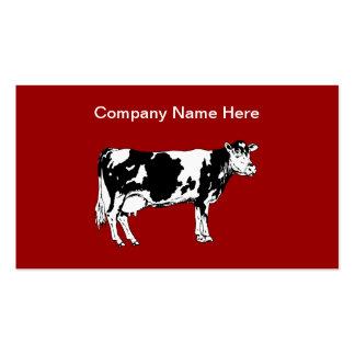 Tarjetas de visita simples del tema de la vaca