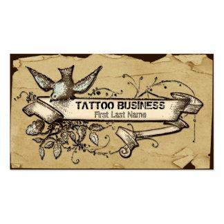 Tarjetas de visita sucias del tatuaje del remolino