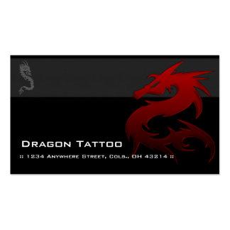 Tarjetas de visita únicas del tatuaje asiático roj