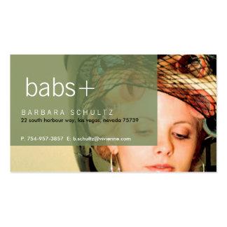 Tarjetas de visita [verdes] de la cara de Bab