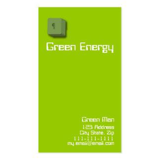 Tarjetas de visita verdes de la energía