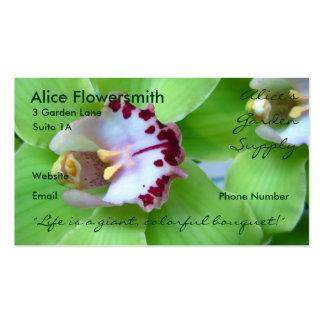 Tarjetas de visita verdes de las orquídeas