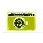 Tarjetas de visita verdes olivas retras de la foto