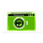 Tarjetas de visita verdes retras de la fotografía