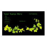 Tarjetas de visita verdes y amarillas de la hiedra