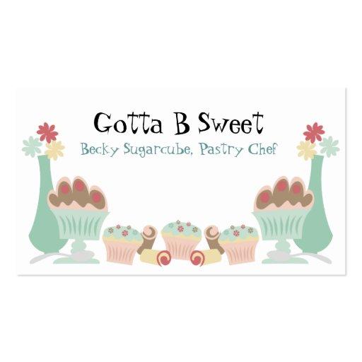 Tarjetas de visitas dulces deliciosas del chef de tarjetas de visita