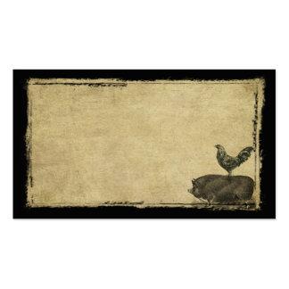 Tarjetas de visitas remilgadas del gallo y del tarjetas de visita